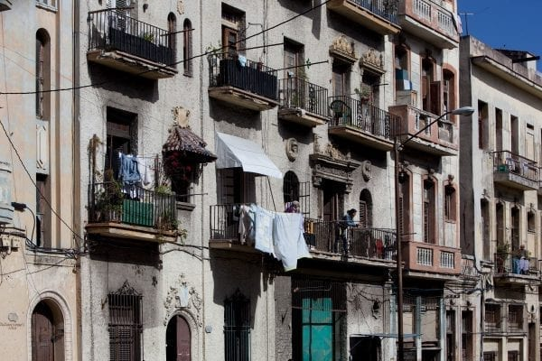 Clothes hang out to dry in Havana, Cuba