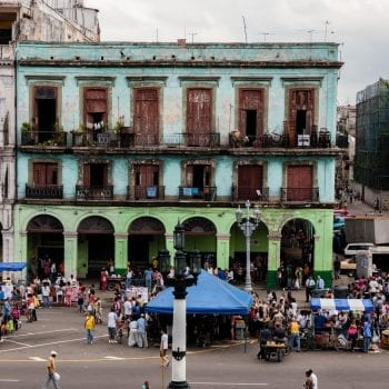 Colorful Building Across From the Capitol in Havana