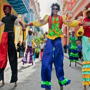 Cuban dancers on stilts in Havana, Cuba