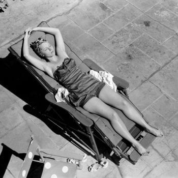 Sunbathing in Miami Beach, Florida circa 1950